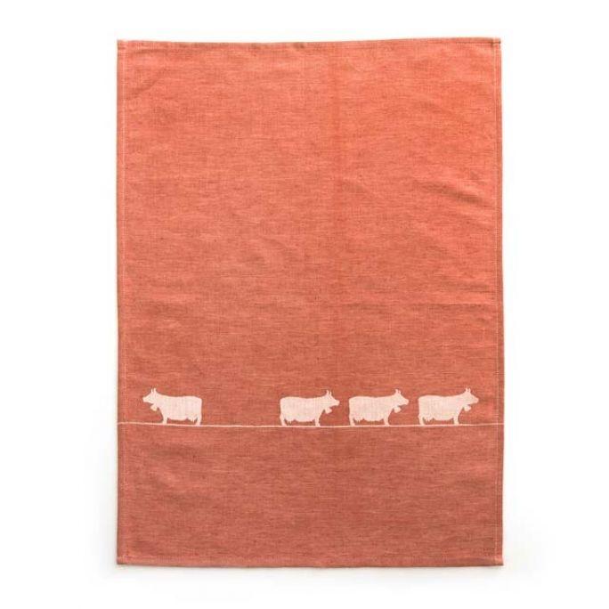 Geschirrtuch Kühe rot