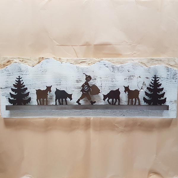 Schellenursli mit Geissen auf Holz