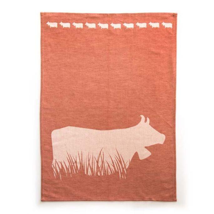 Geschirrtuch Kuh im Gras rot