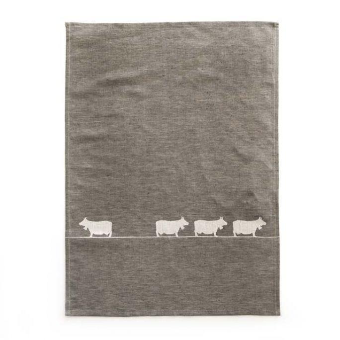 Geschirrtuch Kühe grau