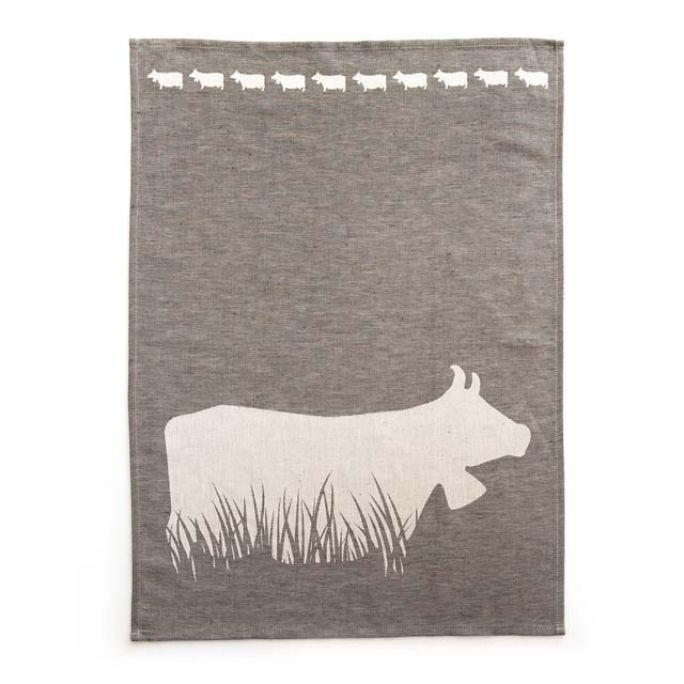 Geschirrtuch Kuh im Gras grau